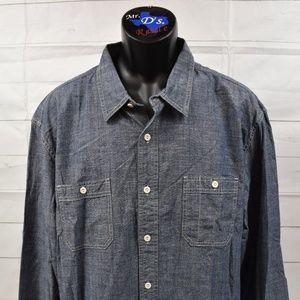 Lucky Brand Sanforized Men's Denim Blue Shirt XXL